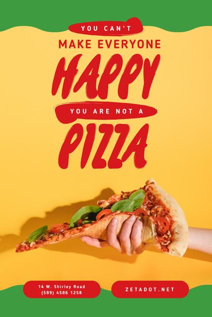 Modèle de visuel Inspirational Quote with Hand Offering Pizza - Pinterest