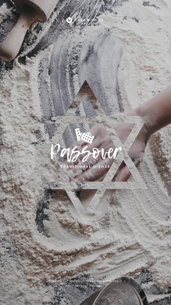Hand in Flour Cooking bread for Passover  — Maak een ontwerp