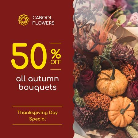 Template di design Thanksgiving Offer Decorative Pumpkins Instagram