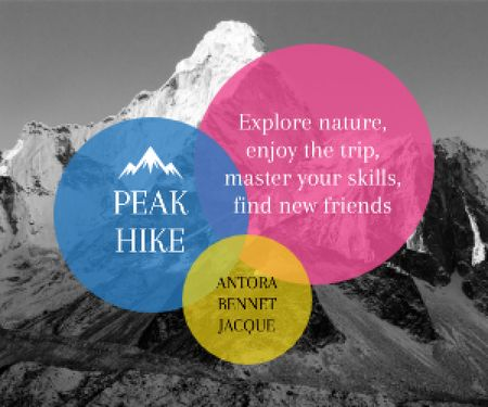 Designvorlage Hike Trip Announcement Scenic Mountains Peaks für Medium Rectangle