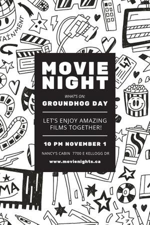 Plantilla de diseño de Movie Night Event Announcement with Arts Icons Pattern Pinterest