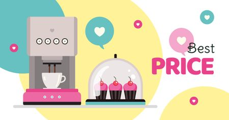 Plantilla de diseño de Coffee and cupcakes in cafe Facebook AD