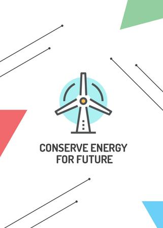 Conserve Energy Wind Turbine Icon Flayer Modelo de Design
