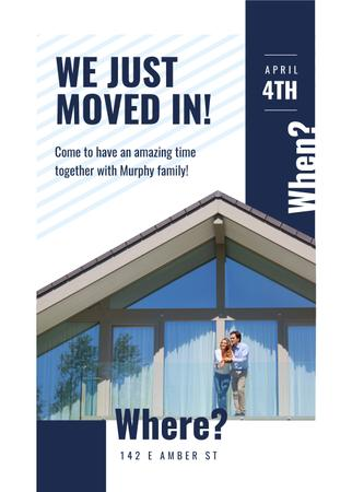 Couple hugging by their new Home Invitation Design Template