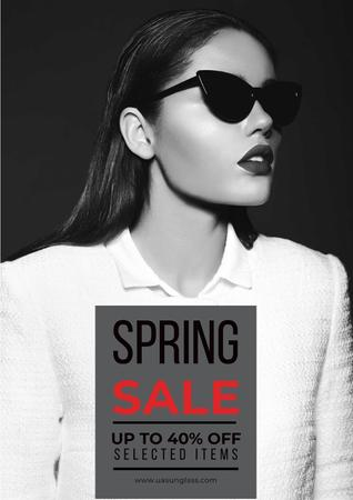 Plantilla de diseño de Spring sale with woman in sunglasses Poster