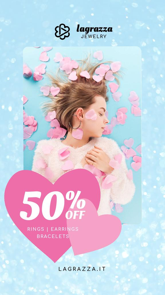 Jewelry Sale Woman in Pink Hearts — Создать дизайн