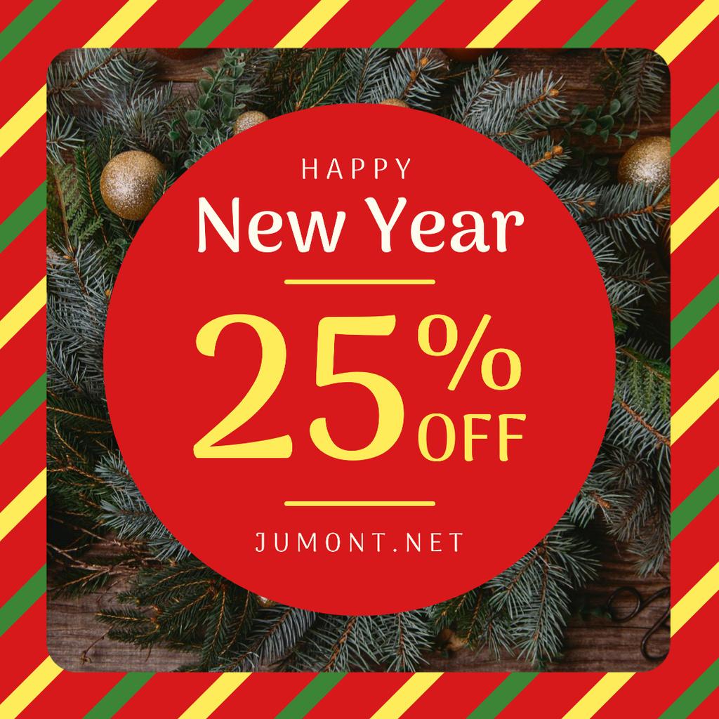 New Year Sale Fir Tress Wreath — Crea un design