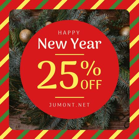 Ontwerpsjabloon van Instagram van New Year Sale Fir Tress Wreath