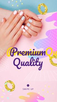 Hands with Pastel Nails in Manicure Salon