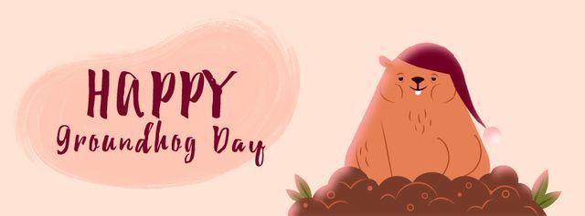 Happy Groundhog Day with sleepy animal Facebook Video cover – шаблон для дизайна