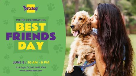 Plantilla de diseño de Girl Kissing her Dog on Best Friends Day FB event cover