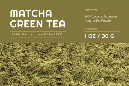 Ontwerpsjabloon van Label van Matcha ad on green Tea powder