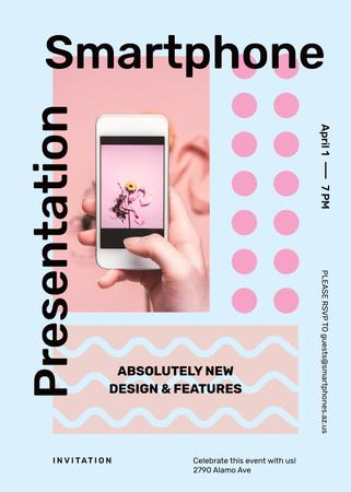 Plantilla de diseño de Taking photo with phone for Smart Home Presentation Invitation