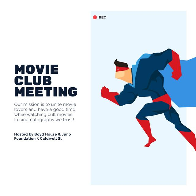 Movie club meeting with running Superman Instagram Modelo de Design