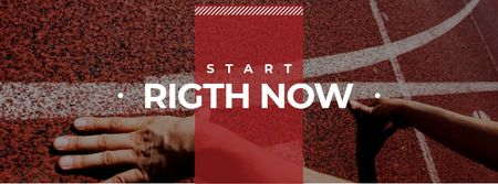 Plantilla de diseño de Hands on start line with Motivational Quote Facebook cover