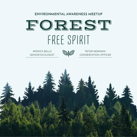 Ecological Event invitation with Forest view Instagram AD Tasarım Şablonu