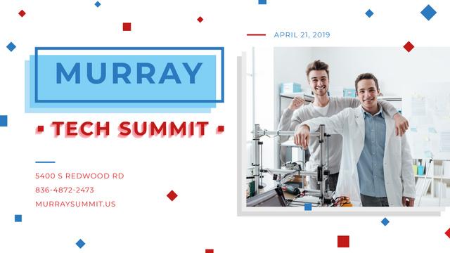 Plantilla de diseño de Tech Summit announcement Scientists Working in Lab FB event cover