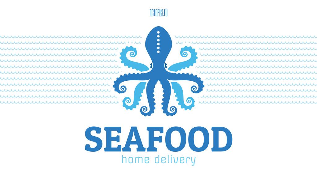 Seafood Octopus in Sea Waves in Blue — Crear un diseño