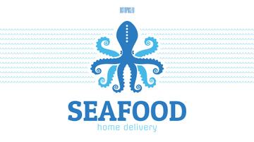 Seafood Octopus in Sea Waves in Blue