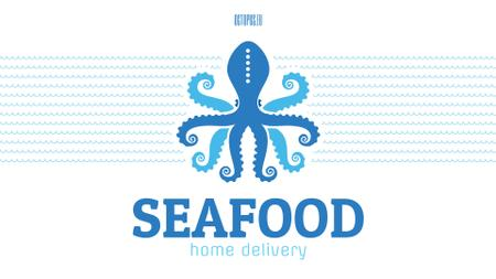 Modèle de visuel Seafood Octopus in Sea Waves in Blue - Full HD video