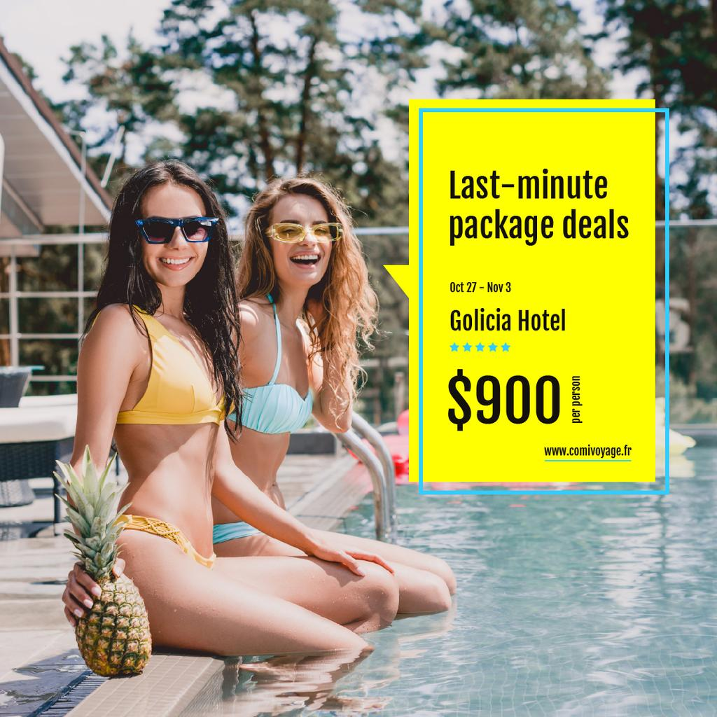 Hotel Offer Happy Girl in Bikini by Pool | Instagram Ad Template — ein Design erstellen