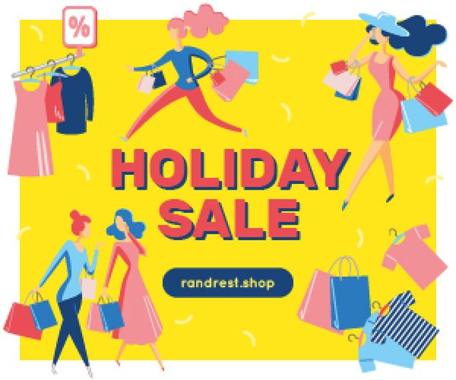 Holiday Sale Women Shopping for Clothes Medium Rectangle – шаблон для дизайну
