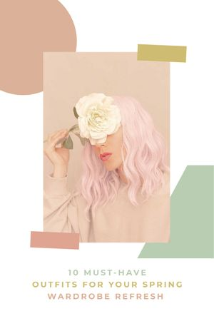 Plantilla de diseño de Tender Girl with Pink Hair Tumblr