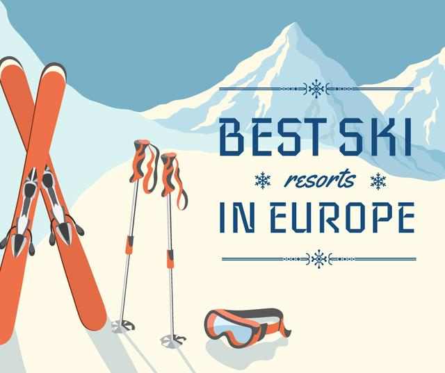 Ski resorts ad with Snowy Mountains Facebook Design Template