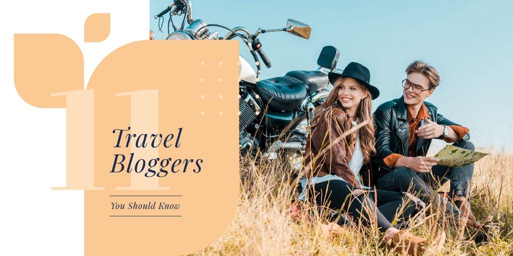 Couple sitting by motorcycle — Maak een ontwerp