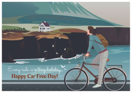 Ontwerpsjabloon van Postcard van Car free day with Man on bicycle in Scenic Mountains