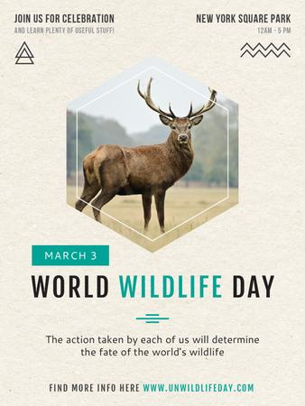 Plantilla de diseño de World Wildlife Day announcement with Wild Deer Poster US