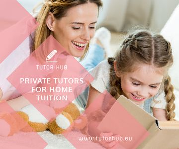 Private Tutors Promotion Woman and Girl Reading | Medium Rectangle Template