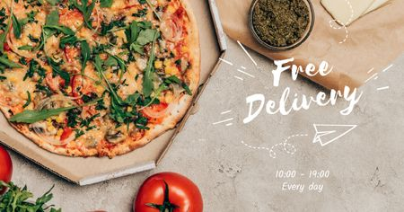 Free Delivery Pizza Offer Facebook AD Modelo de Design