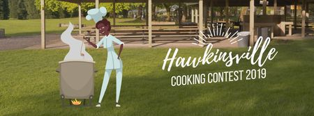 Chef cooking on fire Facebook Video cover Modelo de Design
