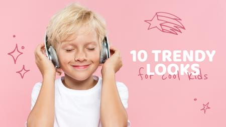 Boy listening to music in Headphones Youtube Thumbnail Modelo de Design