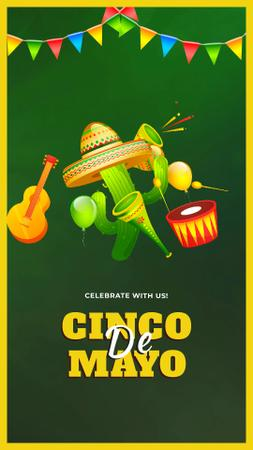 Ontwerpsjabloon van Instagram Video Story van Cinco de Mayo Mexican Dancing Cactus