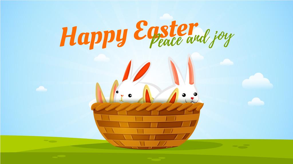 Easter Greeting Bunnies in Basket — Створити дизайн