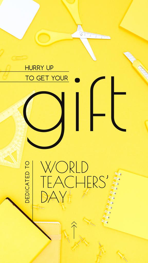 World Teachers' Day Gift Stationery in Yellow | Stories Template — Créer un visuel