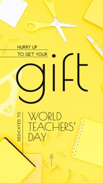 World Teachers' Day Gift Stationery in Yellow | Stories Template