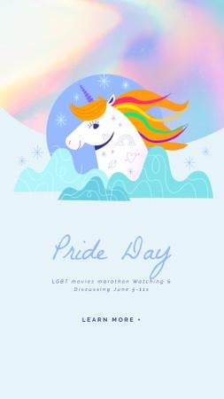 Pride Day with Unicorn with Rainbow Hair Instagram Video Story Modelo de Design