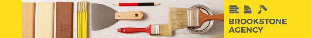 Tools for Home Renovation in Yellow | Leaderboard Template — ein Design erstellen