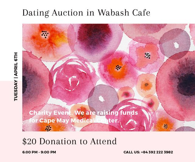 Dating Auction in Wabash Cafe Large Rectangle Design Template