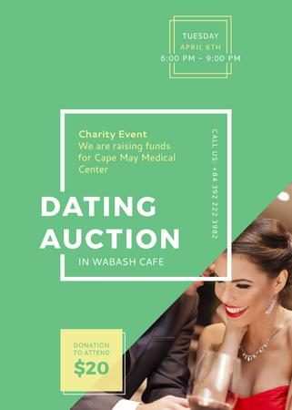 Smiling Woman at Dating Auction Invitation Modelo de Design