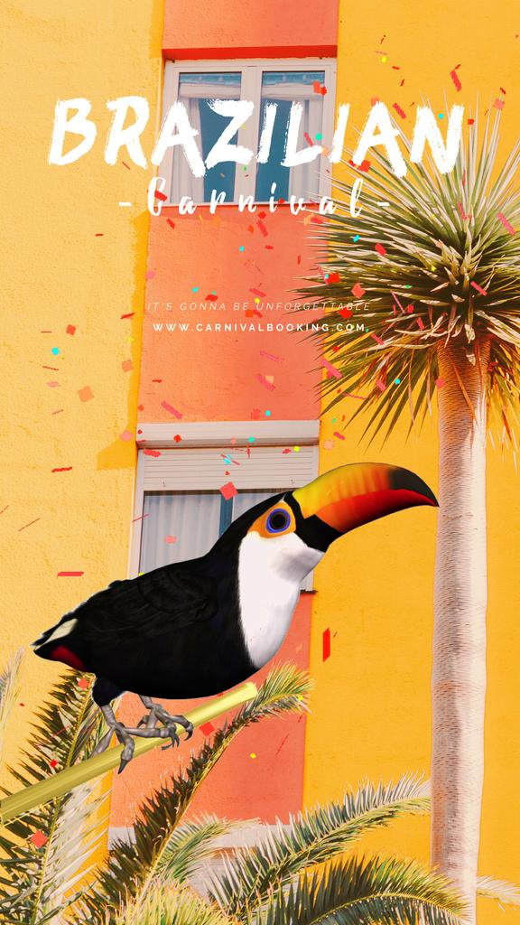 Brazilian Carnival Invitation Toucan on Palm Tree — Створити дизайн