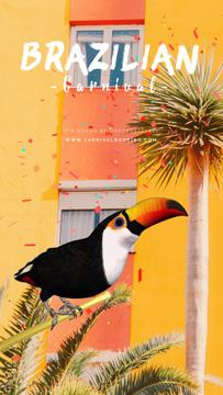 Brazilian Carnival Invitation Toucan on Palm Tree