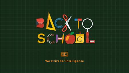 Plantilla de diseño de Back to school inscription with stationery Full HD video