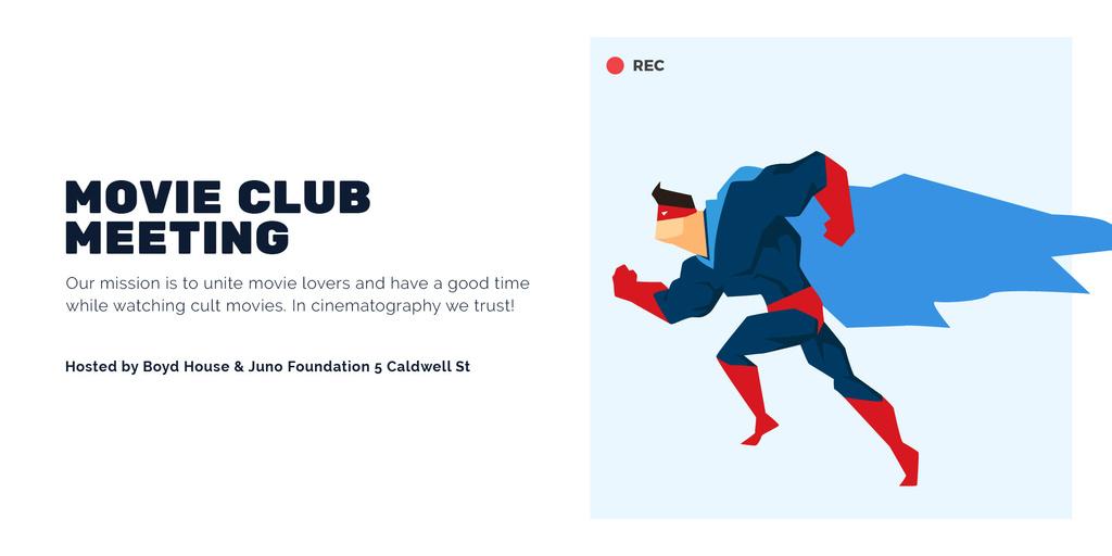 Movie Club Meeting with Man in Superhero Costume — Create a Design
