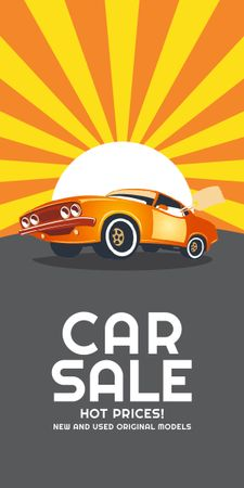 Plantilla de diseño de Car Sale Advertisement Muscle Car in Orange Graphic