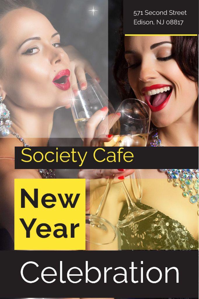 New Year Party Invitation Women Celebrating Tumblr Modelo de Design