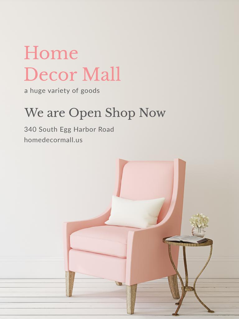 Furniture Store ad with Armchair in pink — Modelo de projeto